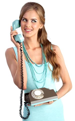 Chica con teléfono fijo